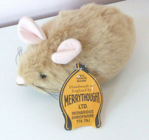 """Merrythought Small Mouse Mice Beige Brown Soft Plush Stuffed Toy Tag Rat 7"""""""