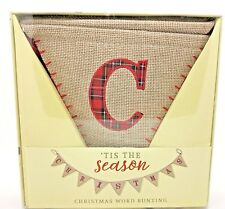 Christmas Bunting Word Banner Hessian Tartan Rustic Flags Hanging Decoration New
