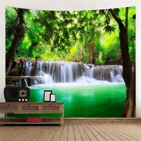 Nature Landscape Tapestry Art Waterfall Wall Hanging Scenery Print Tapestry Dec