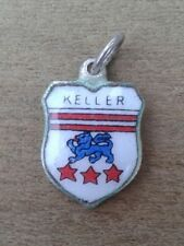 Keller Coat of Arms / Family Crest Silver Plated Enamel Charm