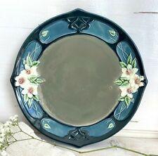 Antik Eichwald Jugendstil Majolika Teller Zierteller 1910er Keramik Blumen Blau