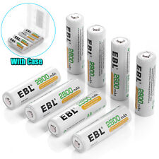 8x EBL 2800mAh AA NiMH Rechargeable Batteries High Capacity ( 8Packs ) w/ 2 Case