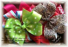 8 Hair Bows Lot 6 Inch  Boutique Custom to Your Choice of Colors /Clip