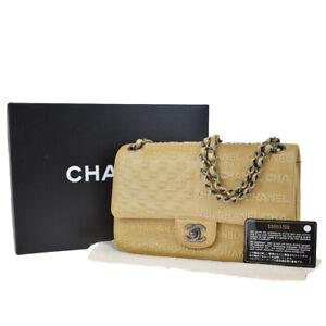 Auth CHANEL CC Logo Chain Shoulder Bag Embossing Leather Beige Italy 825LB229