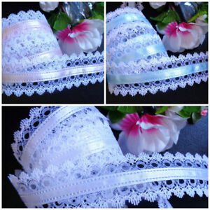 """1.5 """" wide White Lace / Satin Center Ribbon selling by the yard-select color"""
