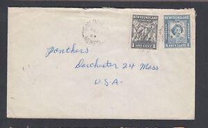 NEWFOUNDLAND 1949 COVER BAY ROBERTS TO DORCHESTER MASSACHUSETTS USA