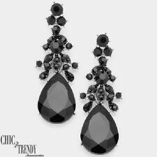 CHANDELIER BLACK GLASS CRYSTAL EARRINGS PROM WEDDING FORMAL CHUNKY JEWELRY