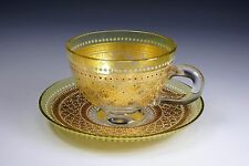 Venetian Italian Hand Painted Yellow and Clear Glass Cup and Saucer