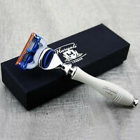 Men's 5 Edge Cartridge Razor Ivory Groove Handle Perfect For All Type of Shave