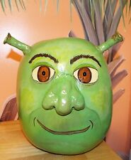"Large Green Shrek Hand Painted And Sculpted Gourd. Ooak, Must See! 11"" X 10"""