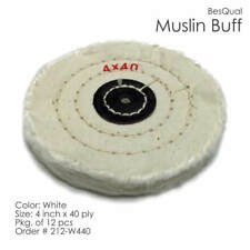 "Yellow Muslin Buff Wheel 4"" x 40 Ply 12-Piece"
