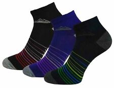3 Pairs Ladies Prohike Black Navy Purple Striped Cotton Trainer Socks, Size 4-8