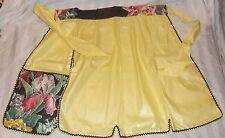 Vintage Yellow Unusual Fabric Ric Rac Trim Hostess APRON Side Pocket w/Hot Pad