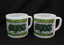 Federal Milk Glass Arby's Stained Green Glass Coffee Mug Cup Heat Proof #6 & #8