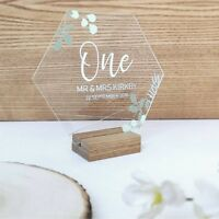 Hexagon Wedding Day table number - Clear