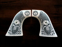Ivory Ruger Super Blackhawk custom engraved Grips Scroll Skull checkered