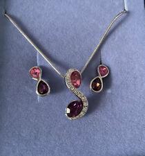 Silver Necklace & Earrings Set Pink Purple BNIB