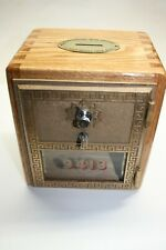 OAK BANK WITH ORIGINAL USPS POST OFFICE BOX DOOR SIZE #2