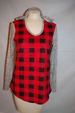 Womens HOODED SWEATSHIRT Fleece Body RED BLACK CHECKERED PLAID Marled Sleeves 1X