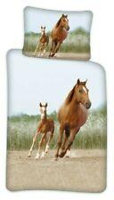 Kinder Bettwäsche Set 100x140 40x45 Bettwaren Garnitur Pferde Tiermotiv NEU