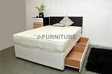 4ft Double Divan Bed With 2drawers & Orthopaedic Mattress HB