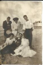 Antique Victorian Lovely Young Adults Finely Dressed On Beach Old Photo