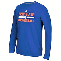New York Knicks NBA Adidas Men's Blue Long Sleeve Ultimate T-Shirt