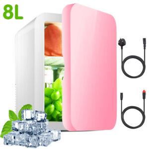 UK 8L Pink Portable Mini Fridge Table Top Electric Small Cooler Freezer Car Bar