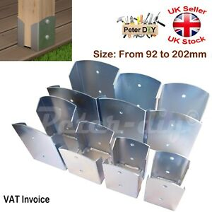 Heavy Duty Galvanised Bolt Down SQUARE POST SUPPORT Fence Foot Base 92-202mm