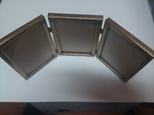 Vintage Gold Metal Craft 4-1/2 x 6-1/2 Triple Tri-Folding Picture Photo Frame