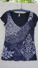 Full Tilt Knit Top Misses XL 100% Cotton Blue White Studded Front Boho USA MINT