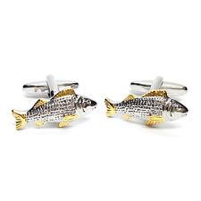 Two Tone Carp Fish Cufflinks & Gift Pouch