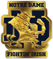 Notre Dame Fighting Irish Gold Leprechaun with signature ND Letters Type MAGNET