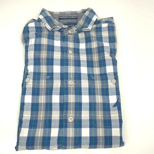 Nautica Medium Blue White Checked Trimmer Fit Premium Shirt Collar (1335 E1)