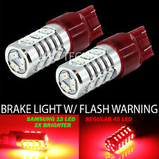 2X 7443 Red Flashing Strobe Blinking Alert Safety Brake Tail Stop Light Bulbs
