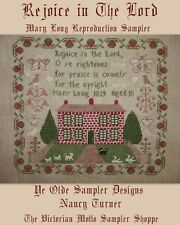 Rejoice in Lord ,antique sampler style,cross stitch chart (10pg)
