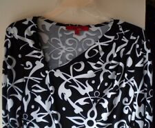 Narcisco Rodriguez Black/White Geometric L-Sleeve Poly Blend C-Casual Top. Sz M