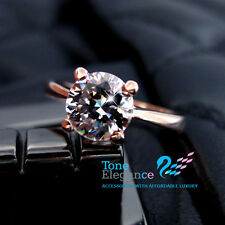 18k rose gold GF solid engagement wedding ring simulated diamond crystal