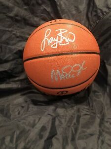 Magic Johnson & Larry Bird Autographed NBA Spalding Indoor/Outdoor Beckett