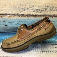 Sebago Docksides Men's 12 M Casual Leather Loafers Boat Shoes Brown Blue