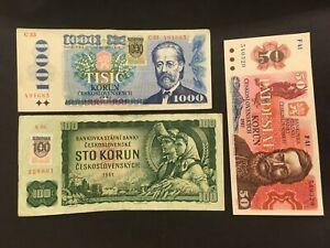 SLOVAKIA (3 Notes)  100 and 1000 Korun 1993  -- Czechoslovakia 50 Korun 1987