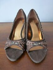RIVER ISLAND BROWN PEEPTOE HEELS WITH GORGEOUS BEAD DETAIL SIZE 7