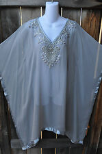 ART TO WEAR FLOWING PONCHO STYLE HAND BEADED TUNIC IN SILVER AND GRAY, MED+!