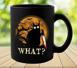 Cat Mug Black Cat What Moon Halloween Coffee Cup Funny Coffee Cup Gift Men Women