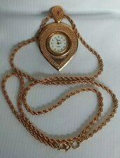 Vintage TOPAZ Quartz Necklace Watch Stainless Steel Base