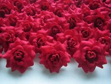 "(100pcs) Silk Red Roses 1.75"" - Artificial Flower Heads Lot - Wedding decoration"