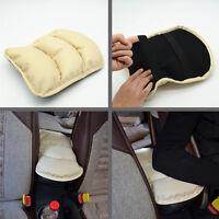 Beige PU Car Center Armrest Console Box Soft Pad Cover Cushion Durable Wear Mat