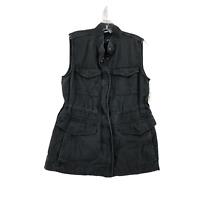 Gap Women's Cargo Jacket Medium Lyocell Black Many Pockets Full Zip Collar NWT