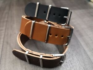 Leather Watch Strap Band G10 Zulu Military Diving Leather Strap 18mm 20mm 22mm