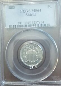 1883 5C SHIELD NICKEL PCGS MS64